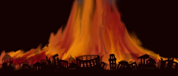 stad die in brand staat