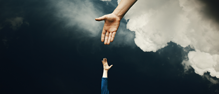 God's hand from the clouds and man's hand