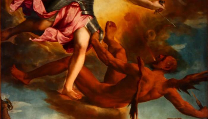engel vecht met de duivel