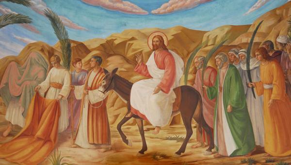 schilderij van de intocht van Jezus